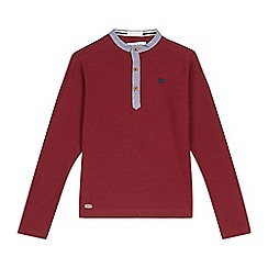 J by Jasper Conran - Boys' dark red ribbed grandad top