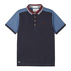 J by Jasper Conran - Designer boy's blue textured panel polo shirt