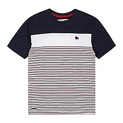 J by Jasper Conran - Designer boy's dark red striped cut and sew t-shirt