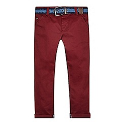 J by Jasper Conran - Boys' dark red belted chinos