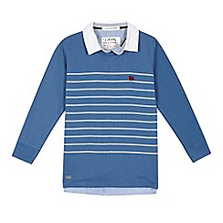 J by Jasper Conran - Boys' blue striped mockable top