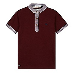 J by Jasper Conran - Designer boy's dark red gingham collar polo shirt