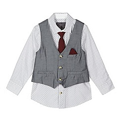 RJR.John Rocha - Designer boy's grey diamond shirt, waistcoat and tie set