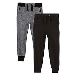 RJR.John Rocha - Pack of two boy's black and grey textured jogging bottoms