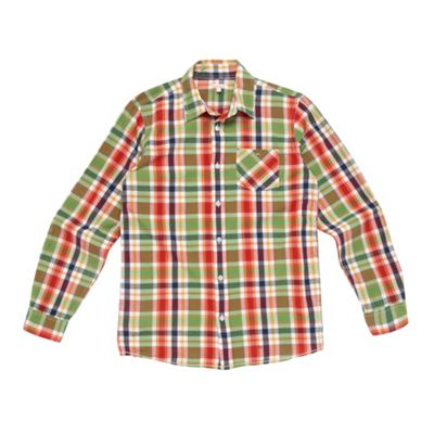 Boys Green Large Check Shirt
