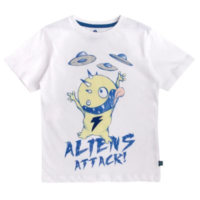 Boys White Alien Attack T-shirt