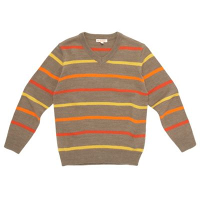 Boys Beige Alternating Stripe Jumper