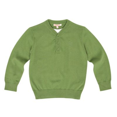 Boys Green Button V-neck Jumper