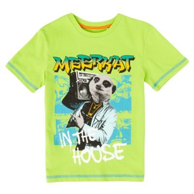Boys Lime Green Meerkat T-shirt