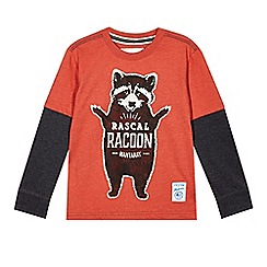 Mantaray - Boy's red 'Rascal Racoon' long sleeved top
