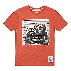 Mantaray - Boy's orange photographic bear t-shirt
