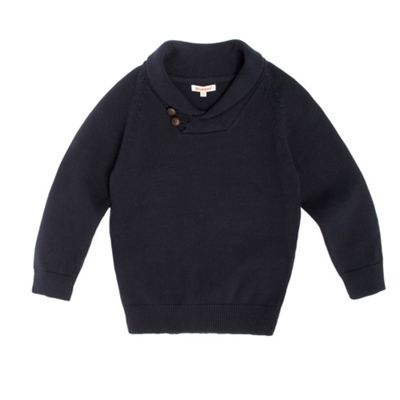Boys Knitted Shawl Neck Jumper