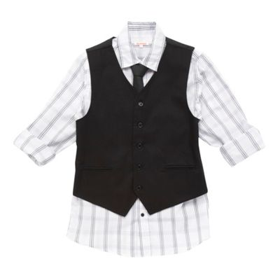 Boys White Long Sleeve Shirt And Waistcoat Set