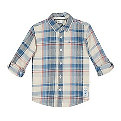 Mantaray - Boy's blue twill checked shirt