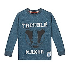 Mantaray - Boy's blue badger printed top