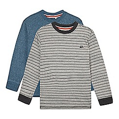 Mantaray - Pack of two boy's grey striped and blue marl tops