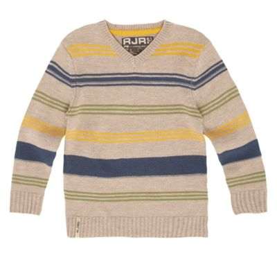 Boys Beige Varied Stripe Jumper