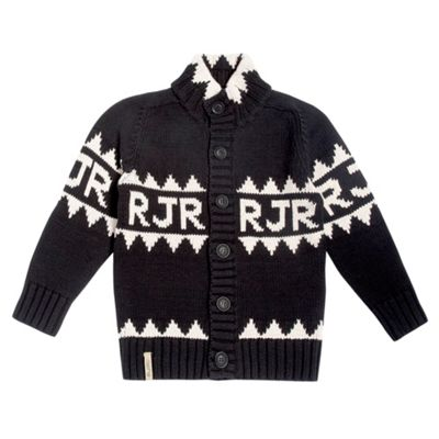 Boys Black Chunky Knit Cardigan