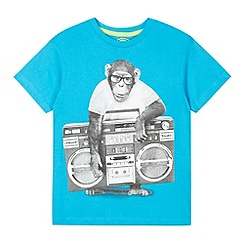 bluezoo - Boy's bright blue street monkey print t-shirt