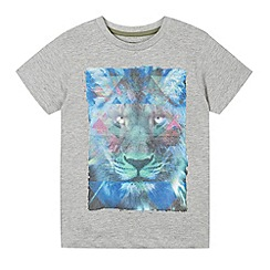 bluezoo - Boy's grey kaleidoscope lion print t-shirt