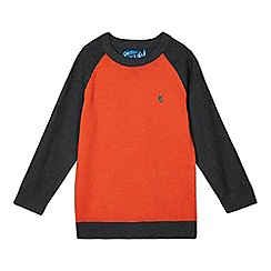 bluezoo - Boy's orange colour block knit jumper
