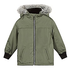 bluezoo - Boy's khaki faux fur trimmed hood parka coat