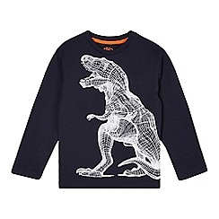 bluezoo - Boy's navy crosshatch dinosaur print top
