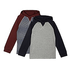 bluezoo - Pack of two boy's navy striped hooded tops