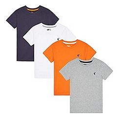 bluezoo - Pack of four boy's navy, white, orange and grey plain t-shirts