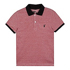 bluezoo - Boy's red knitted collar pique polo shirt
