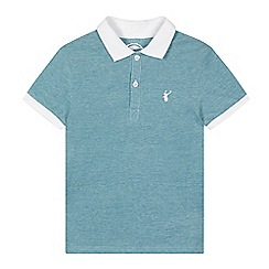 bluezoo - Boy's turquoise knitted collar pique polo shirt
