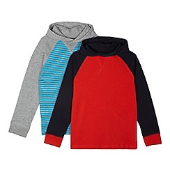 bluezoo - Pack of two boy's red striped hooded tops