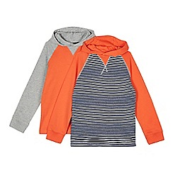 bluezoo - Pack of two boy's orange hooded long sleeved tops