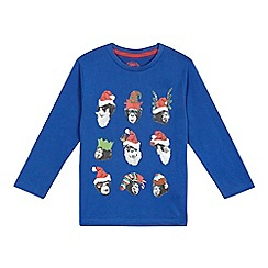 bluezoo - Boys' blue Christmas monkey t-shirt