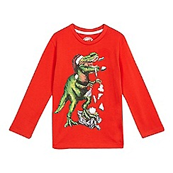 bluezoo - Boys' Christmas red dinosaur t-shirt