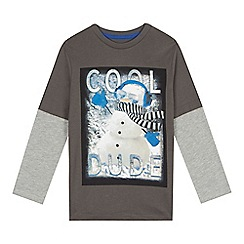 bluezoo - Boys' grey snowman printed top