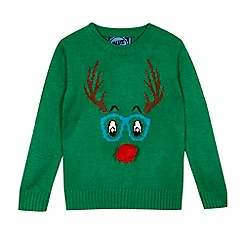 bluezoo - Boys' green 'Rudolph' Christmas jumper