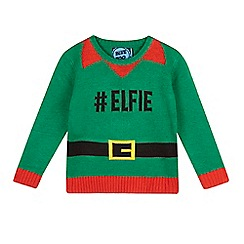 bluezoo - Boys' green elf suit Christmas jumper