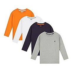 bluezoo - Pack of four boy's grey, white, orange and navy tops
