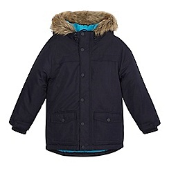 bluezoo - Boys' navy faux fur trimmed parka coat