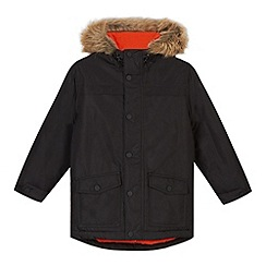 bluezoo - Boy's black faux fur trimmed hood jacket