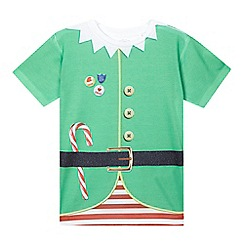 bluezoo - Boys' green Christmas elf t-shirt