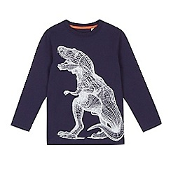 bluezoo - Boys' navy cross hatch dinosaur print jumper