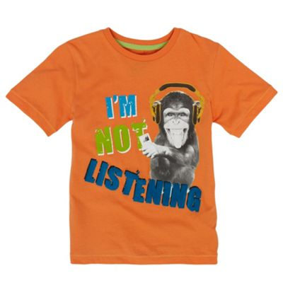 Boys Orange Not Listening T-shirt