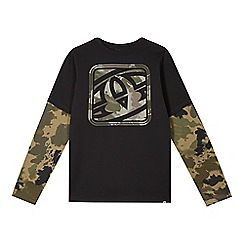 Animal - Boy's khaki camouflage logo mock layered top