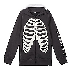 Animal - Boy's dark grey glow in the dark skeleton hoodie
