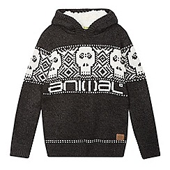 Animal - Boy's dark grey skull hooded jumper