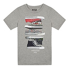 Converse - Boys' grey stacked trainer print t-shirt
