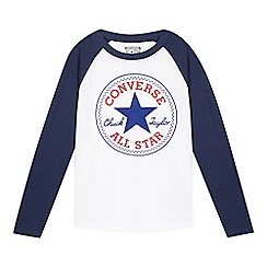 Converse - Boy's white patch raglan sleeve top