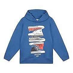 Converse - Boy's blue sneaker stack print design hoodie